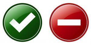 Het GoCredible principe 'deal or no deal'. Groene button met vinkje links, stopbord rechts.